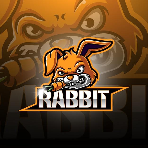 Logo della mascotte di coniglio esport Vettore Premium