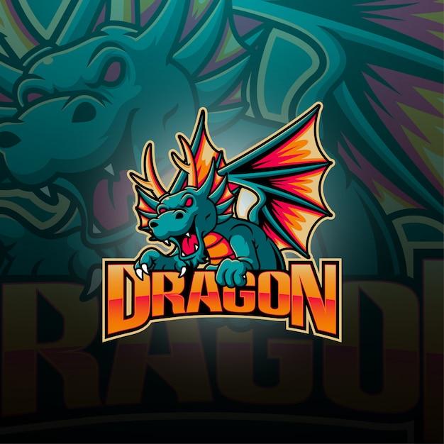 Logo della mascotte di dragon esport Vettore Premium