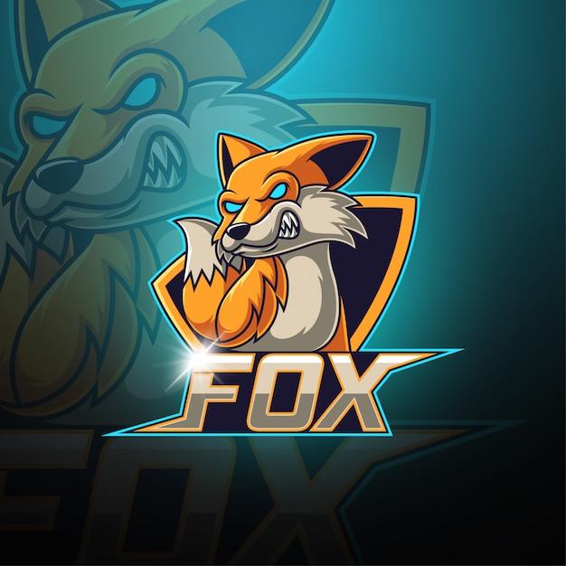 Logo della mascotte di fox esport Vettore Premium