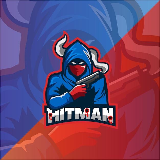 Logo della mascotte di hitman Vettore Premium