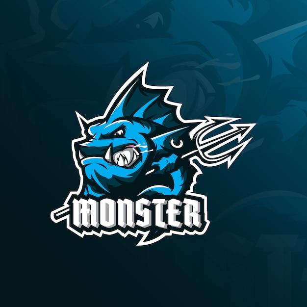 Logo della mascotte di pesce mostro con stile di illustrazione moderno per la stampa di badge, emblemi e magliette. Vettore Premium