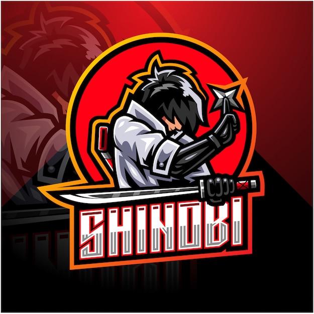 Logo della mascotte di shinobi esport Vettore Premium