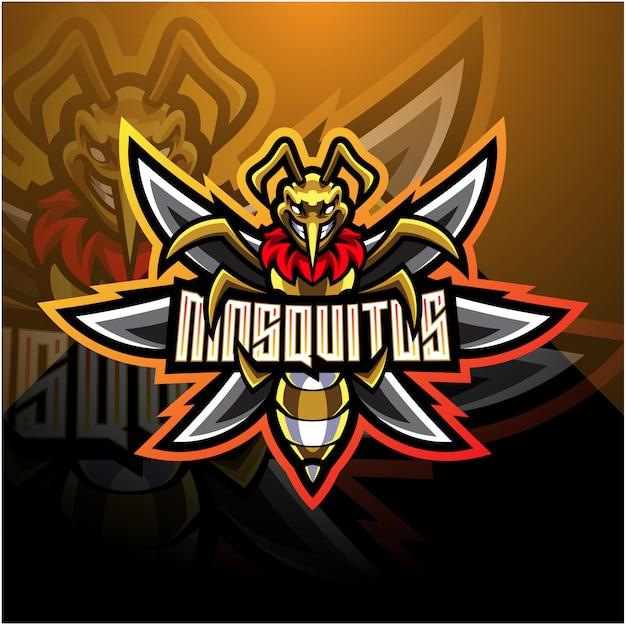 Logo della mascotte di zanzara esport Vettore Premium