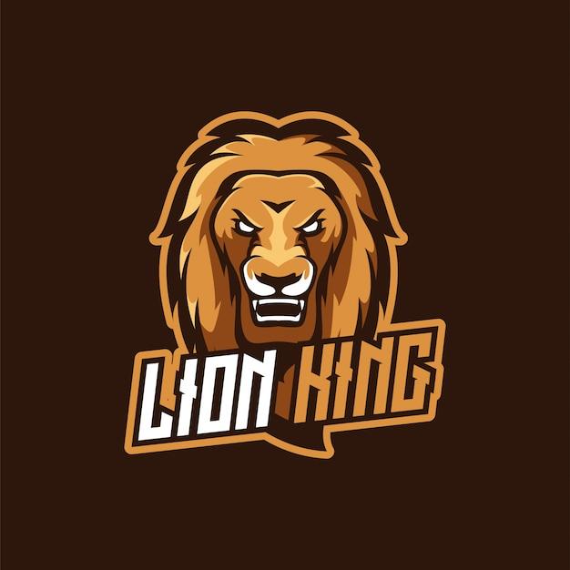 Logo della mascotte e-sport lion king Vettore Premium
