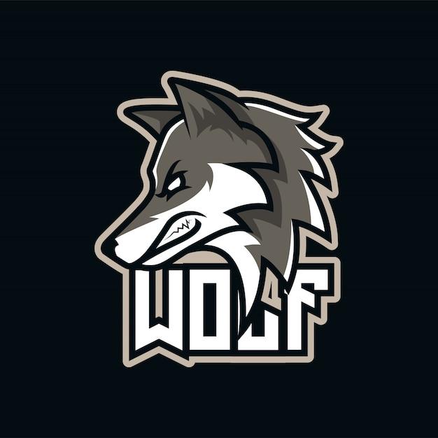 Logo della mascotte e-sport predator gray wolf Vettore Premium