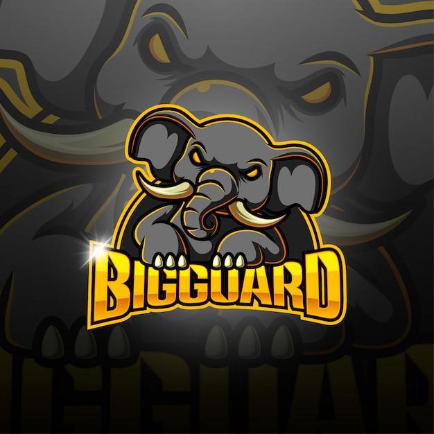 Logo della mascotte esport di big guard Vettore Premium