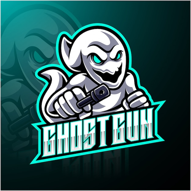 Logo della mascotte esport pistola fantasma Vettore Premium