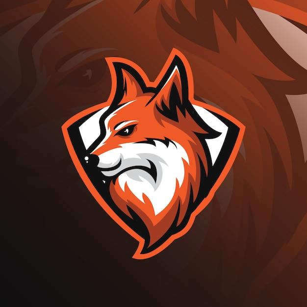 Logo della mascotte fox con stile moderno per la stampa di badge, emblemi e tshirt. Vettore Premium