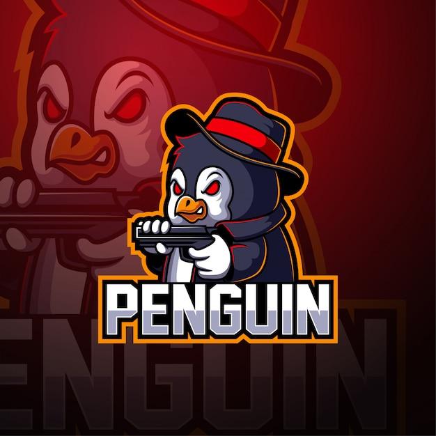 Logo della mascotte pinguino esport Vettore Premium