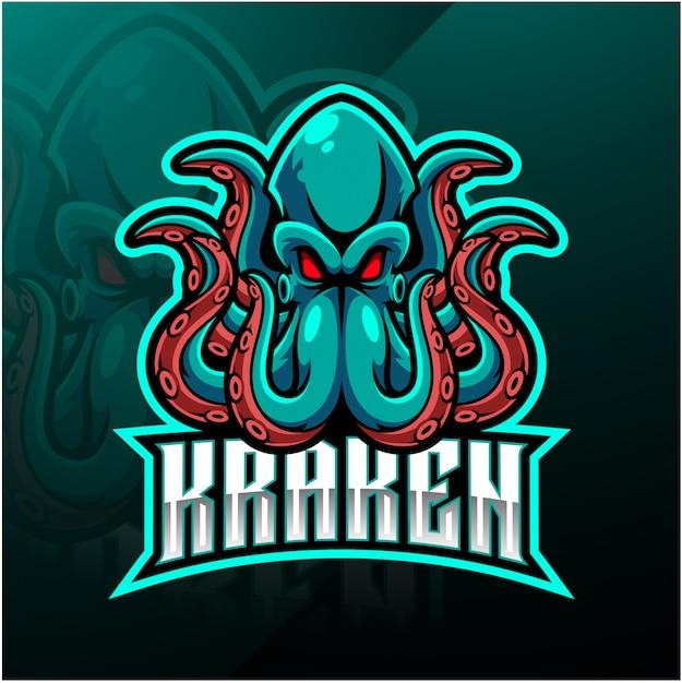 Logo della mascotte sport polpo kraken Vettore Premium