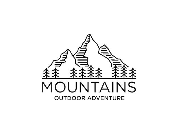 Logo della montagna Vettore Premium