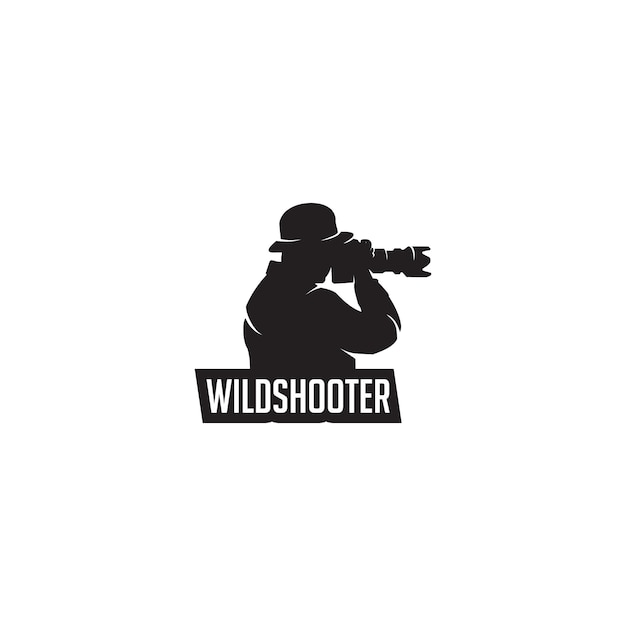Logo della siluetta del fotografo selvaggio Vettore Premium