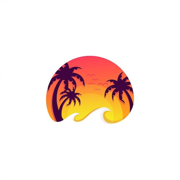 Logo della spiaggia al tramonto Vettore Premium
