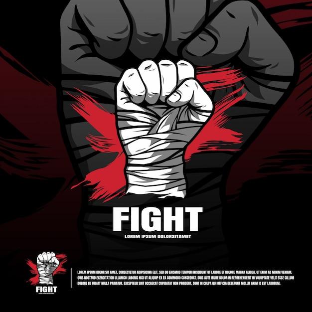 Logo della squadra di arti marziali t Vettore Premium