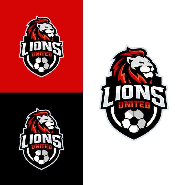 Logo della squadra di calcio lion Vettore Premium