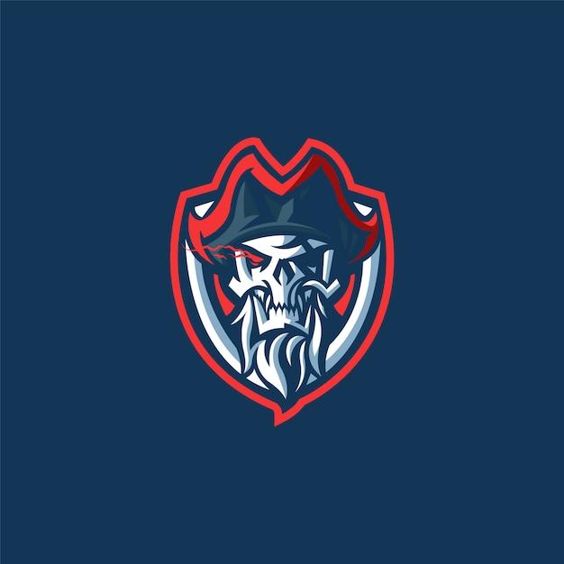 Logo della squadra di e-sport con il pirata Vettore Premium