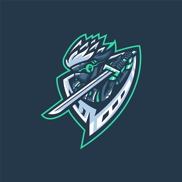 Logo della squadra di e-sport con samurai Vettore Premium