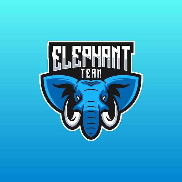 Logo della squadra di elefanti Vettore Premium