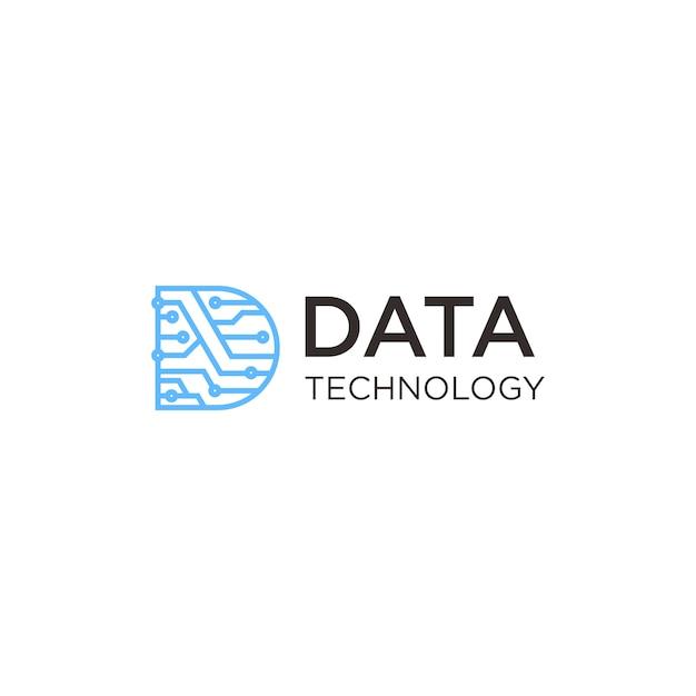 Logo della tecnologia dei dati Vettore Premium