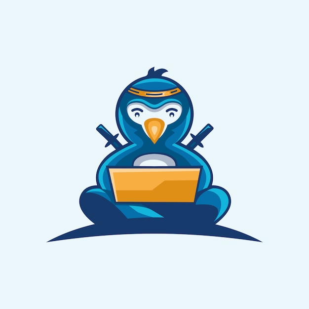 Logo della tecnologia pinguino ninja Vettore Premium