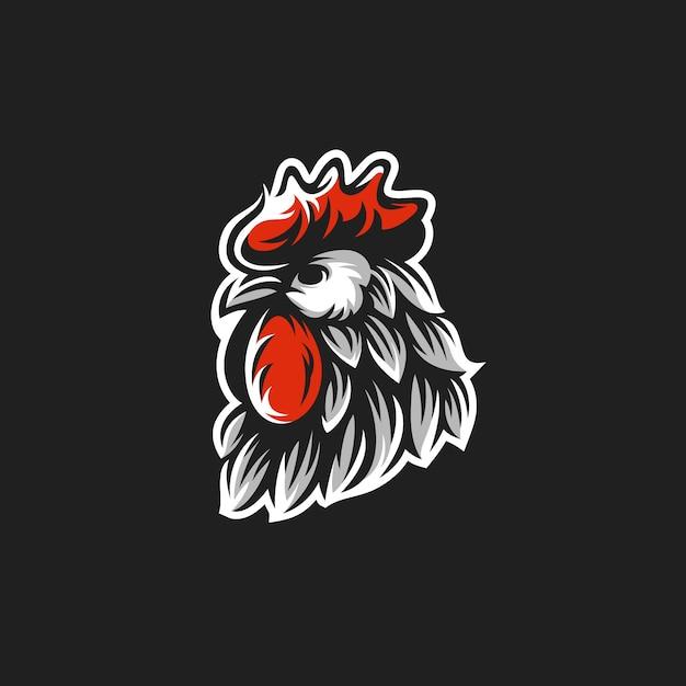 Logo della testa del gallo Vettore Premium