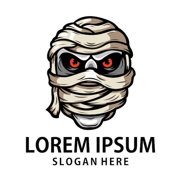 Logo della testa della mummia Vettore Premium
