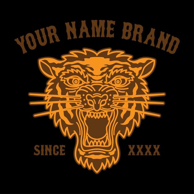 Logo della testa della tigre del tatuaggio per l'abbigliamento Vettore Premium