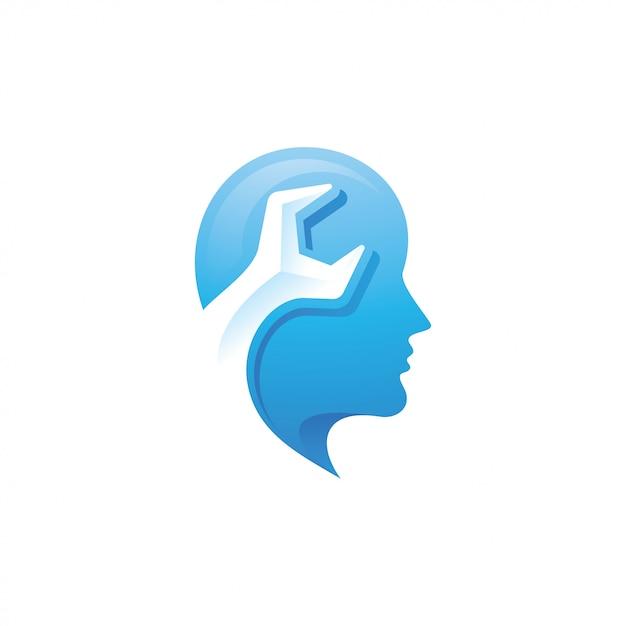 Logo della testa umana e chiave inglese Vettore Premium