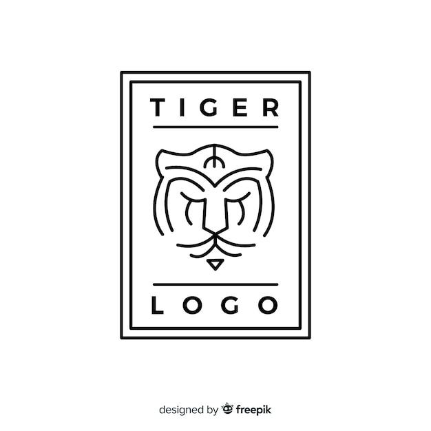 Logo della tigre lineare Vettore gratuito