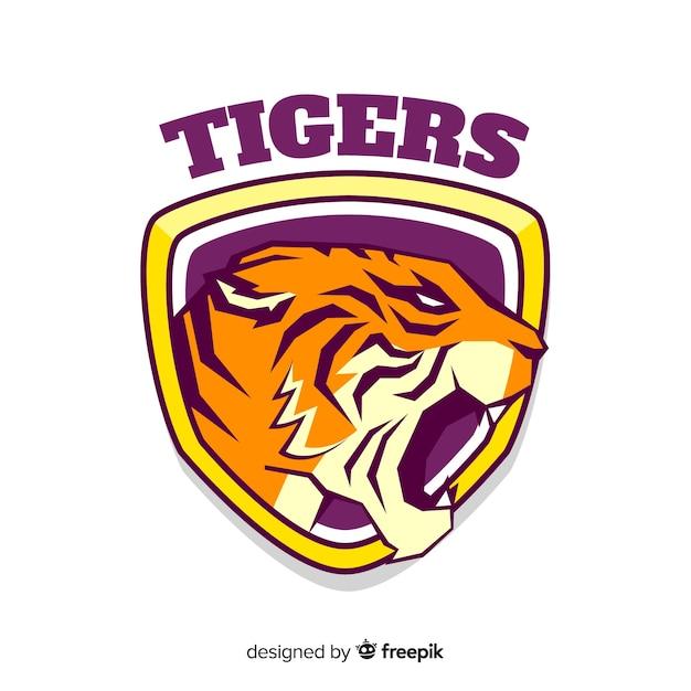 Logo della tigre piatta Vettore gratuito