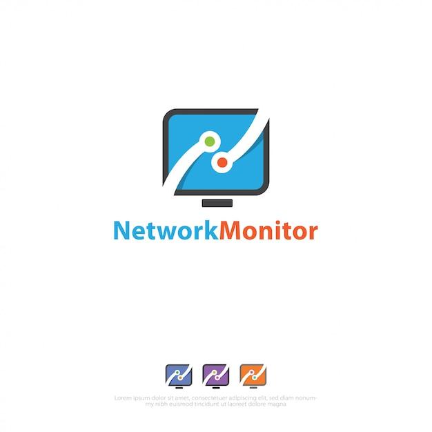 Logo delle connessioni di rete Vettore Premium