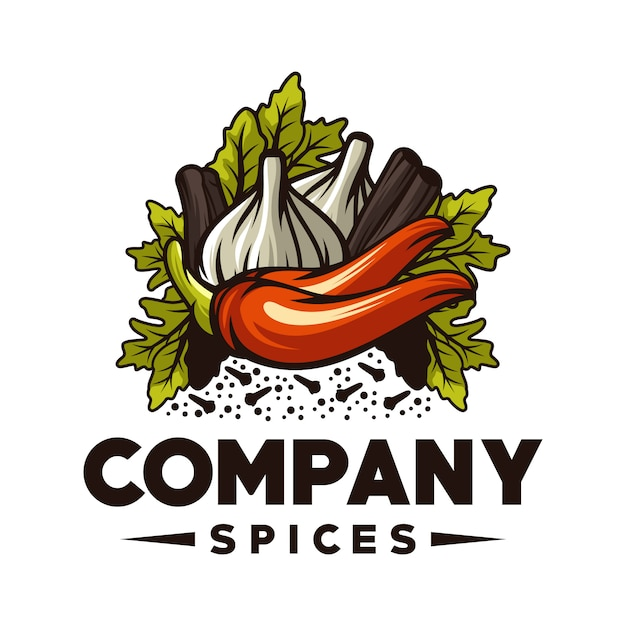 Logo delle spezie Vettore Premium