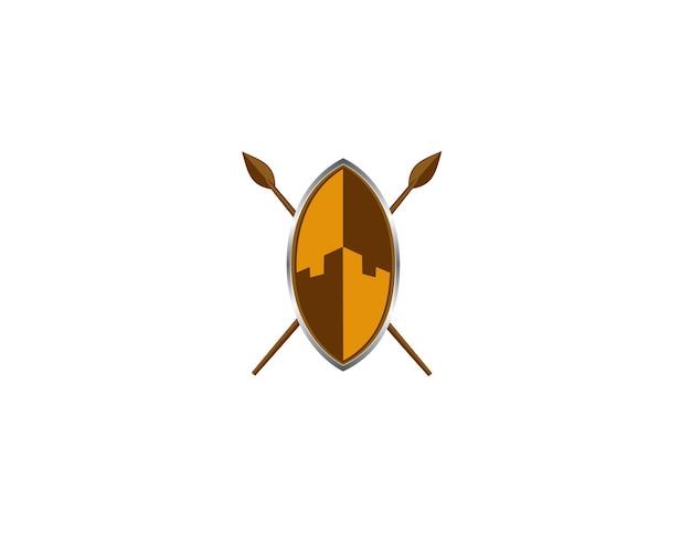 Logo dello scudo tribale e elemento icona Vettore Premium