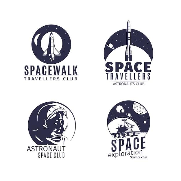 Logo dello spazio impostato in stile retrò Vettore Premium