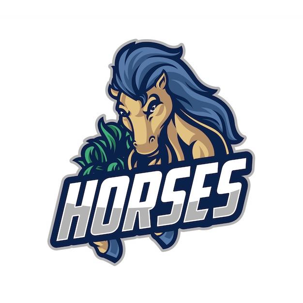 Logo dello sport del cavallo Vettore Premium