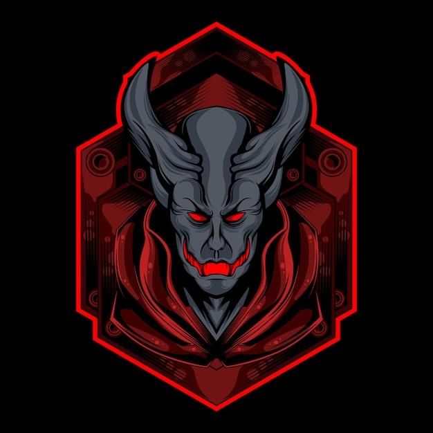 Logo demone rosso Vettore Premium