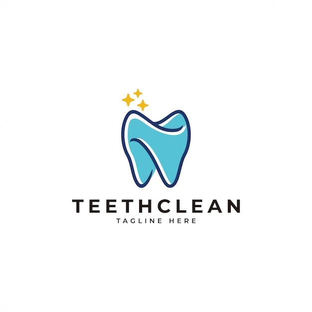 Logo dentale pulito di contorno e riempimento colore Vettore Premium