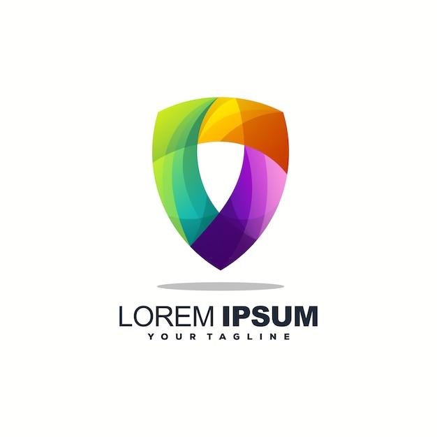 Logo design a scudo completo a colori Vettore Premium