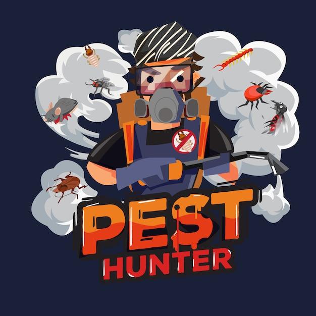 Logo design cacciatore di parassiti. tecnici di servizio di controllo dei parassiti - illustrazione Vettore Premium