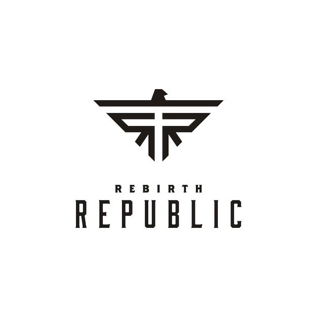 Logo design con simbolo iniziale rr e eagle Vettore Premium