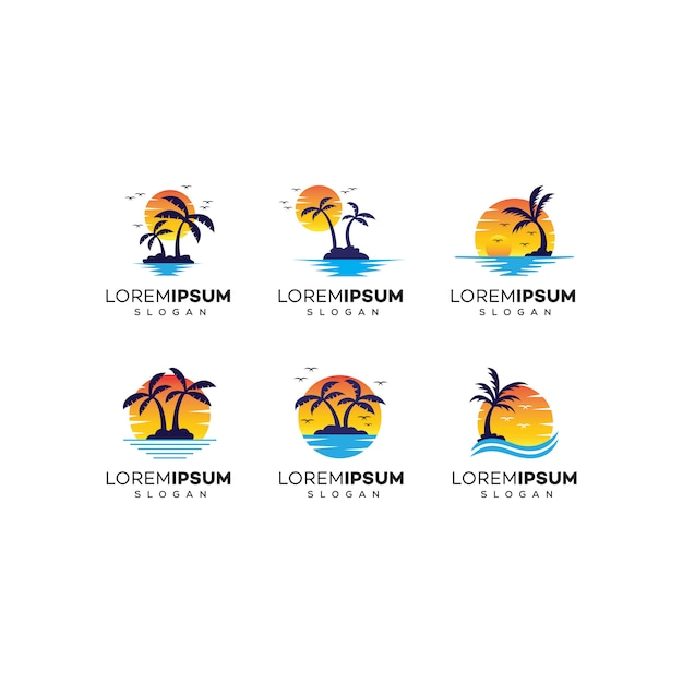 Logo design da spiaggia Vettore Premium