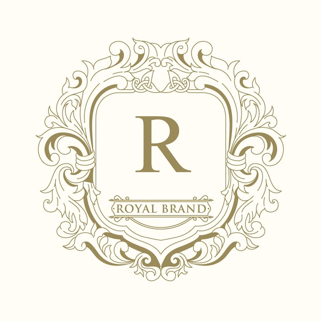 Logo design del marchio reale Vettore Premium