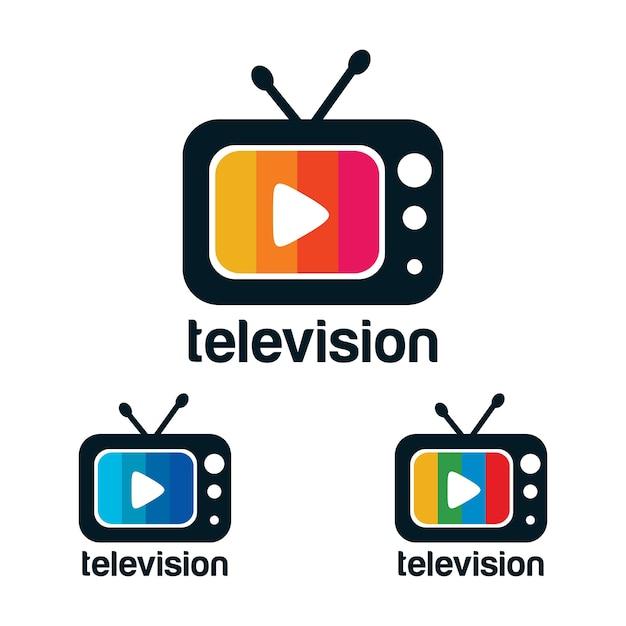Logo design della televisione Vettore Premium