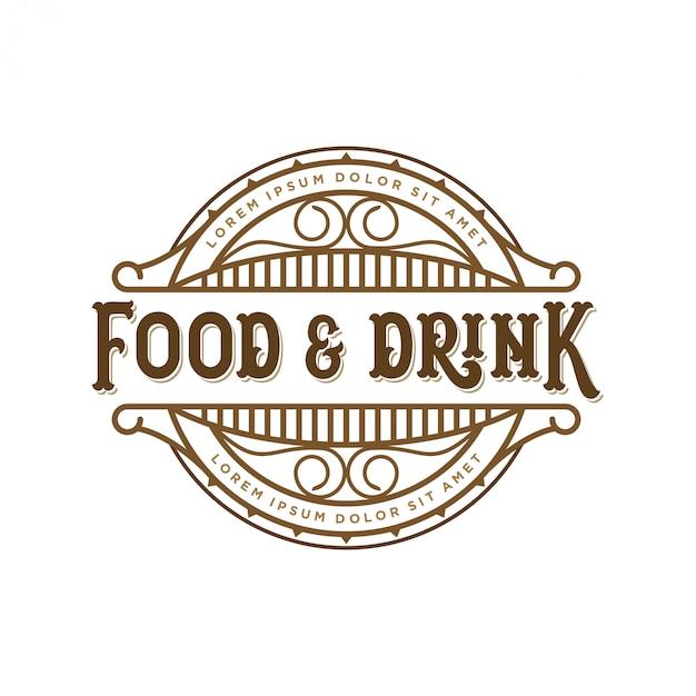Logo design di cibi e bevande per l'etichetta del marchio Vettore Premium