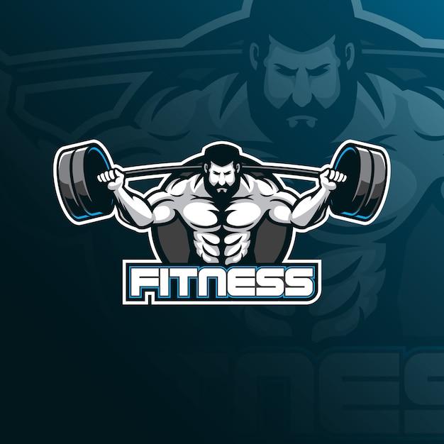 Logo design di fitnessmascot con stile moderno di concetto di illustrazione per stampa di badge, emblemi e magliette. Vettore Premium