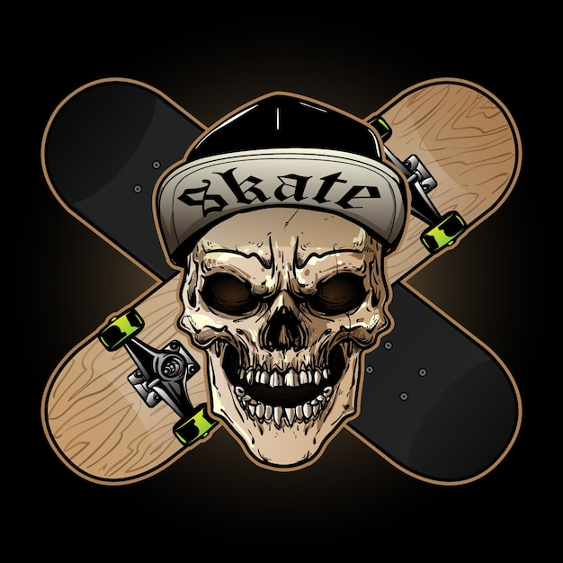 Logo design di skateboard Vettore Premium