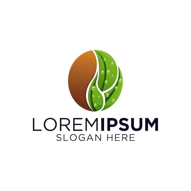 Logo design foglia di caffè Vettore Premium