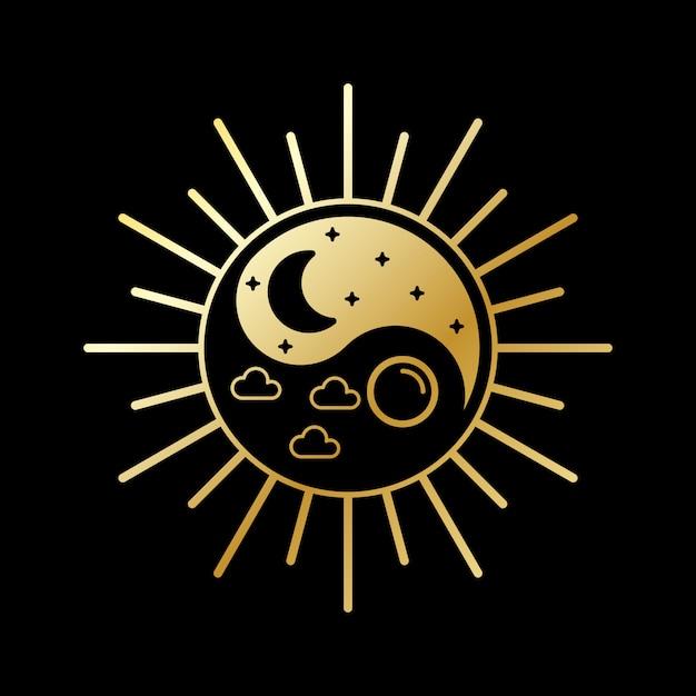 Logo design giorno e notte Vettore Premium