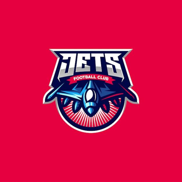 Logo design jets per gli sport di gioco Vettore Premium