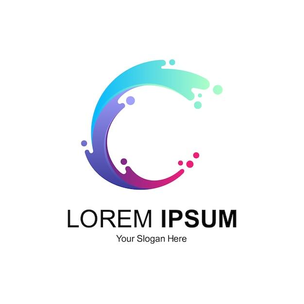 Logo design lettera c Vettore Premium
